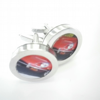 1960 ETypeJaguar cufflinks, one of  world's most beautiful cars free UK shipping