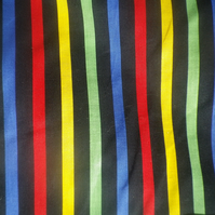Multicoloured stripe on cotton cambric, vibrant design, price per metre