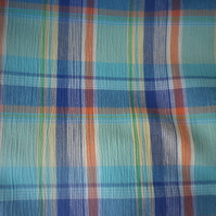 Blue and aqua pastel plaid design on crincle weave, price per metre