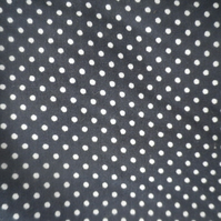 4m navy and white small polka dot on cotton cambric, crisp handle,