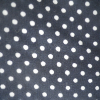 Navy and white large polka dot on cotton cambric, crisp handle, price per metre