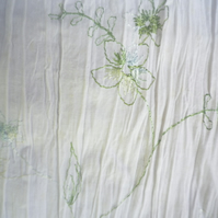 4m green embroidery on soft white  cotton crincle weave perfect wedding fabric