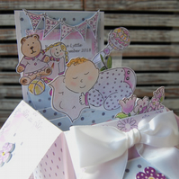 Hand Illustrated, New Baby Girl, Pop Up Card