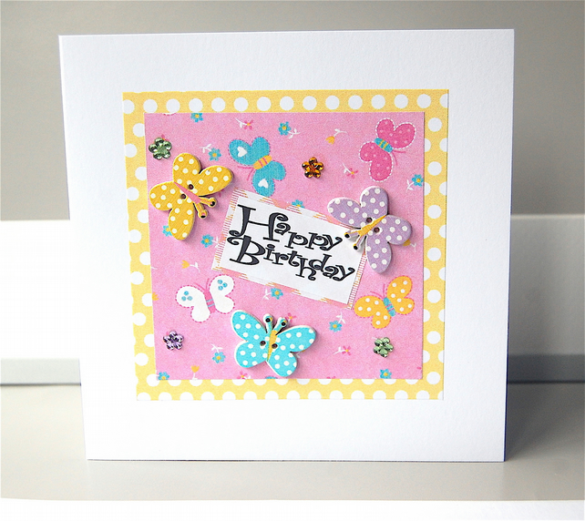 Butterfly Birthday Card, Handmade Card