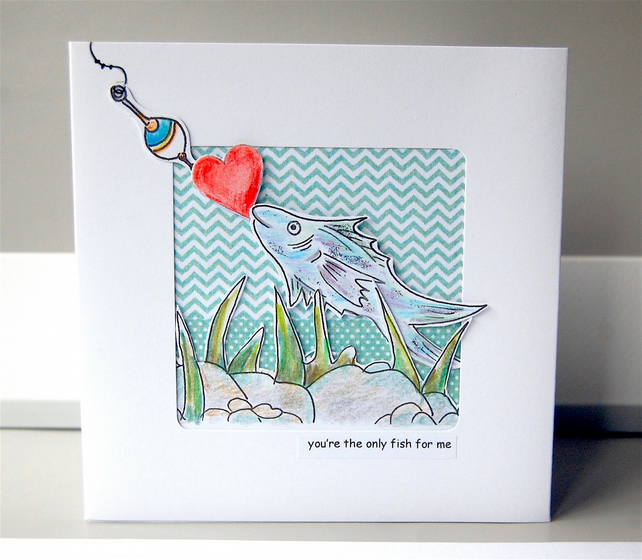 Fishing Card, Valentine Fish Card, Anniversary Card