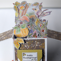 Autumn Card, Pop up Card, Fall Card, Thanksgiving Card, Nature Lover Gift Card