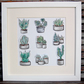 Cactus and Succulents Illustration, Mounted Hand-Illustrated Picture