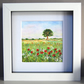 Watercolour Painting, Landscape Painting, Oak Tree and Poppy Field