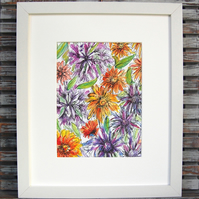 Watercolour Painting, Original, 'Agapanthus, Marigolds & Sea Holly'