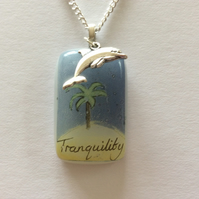 Fused glass seaside pendant with dolphin charm