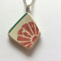 Beach pottery pendant, Scottish Seaglass jewellery, pink flower necklace
