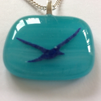 Seagull in flight beach pendant, fused glass necklace