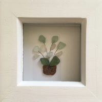 Framed Scottish Seaglass Picture, white Sea glass flower wall art, coastal decor