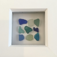 Blue Seaglass Framed Picture from Scotland, Sea glass display, coastal decor