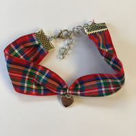 Scottish Royal Stewart Tartan Bracelet with LoveHeart Charm