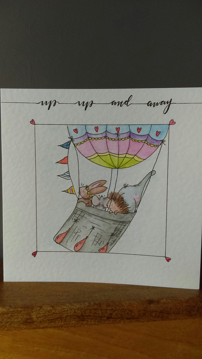 Hot air balloon children's greeting card