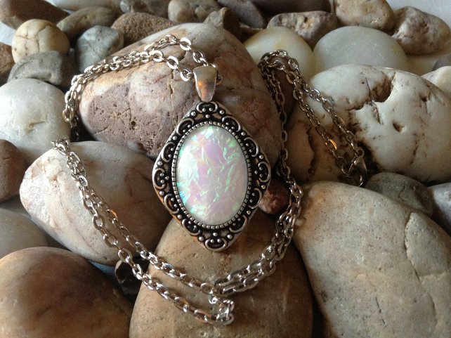 Handmade Opal Effect Style Pendant Necklace