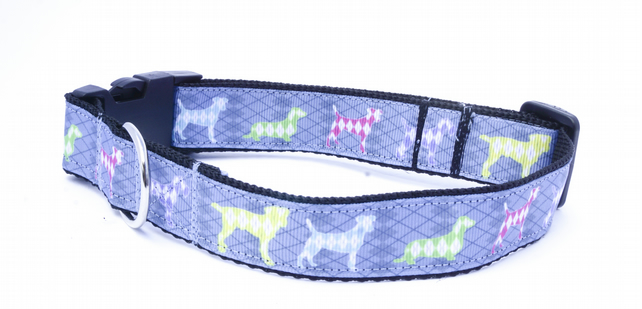 Unisex Extra Large Dog Print Blue Handmade Dog Collar
