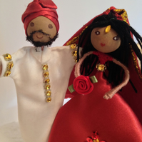 Bride and groom cake topper, Asian, Indian, mixed race, ethnic