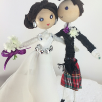 Customised bride and groom cake topper, Scottish kilt, tartan
