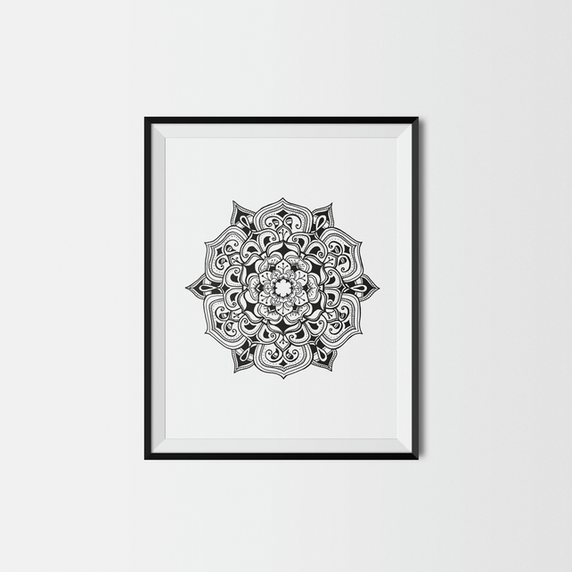 Detailed black mandala print