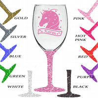Unicorn Banner Glitter Wine Glass with YOUR NAME  12 Colour Options