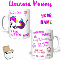 Unicorns Fart Glitter & Unicorn Powers Printed Mug Personalised With YOUR NAME
