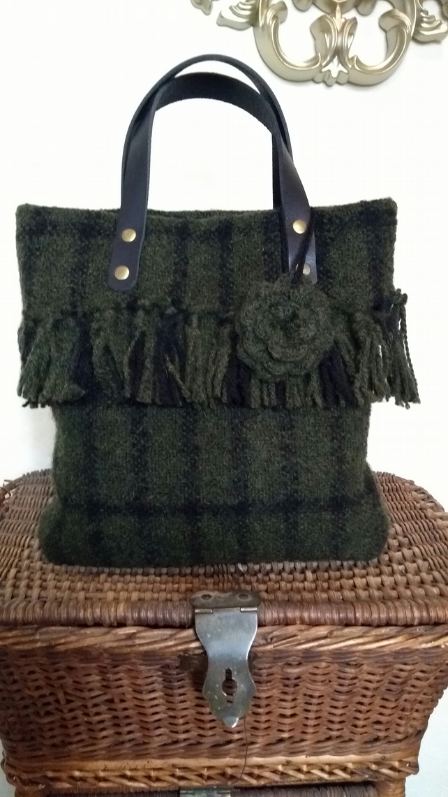 Hand weaved and felted olive green Heddle handbag