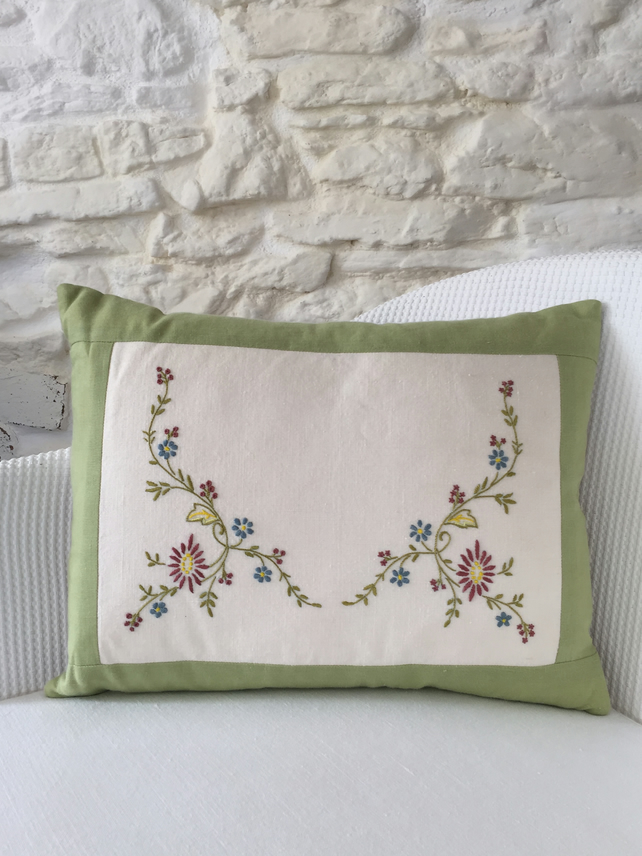 Handmade cushion, linen, cotton, vintage embroidered linen