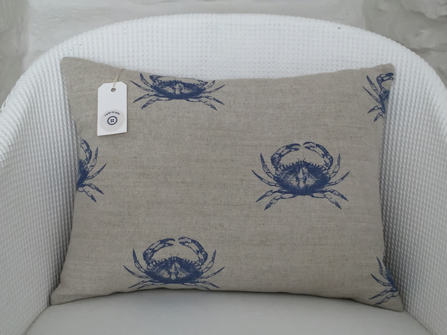 Handmade cushion, linen, cotton, blue crab, coastal home