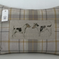 Handmade cushion, linen, cotton, vintage leather buttons, country home