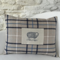 Handmade cushion, linen, cotton, vintage buttons, country home