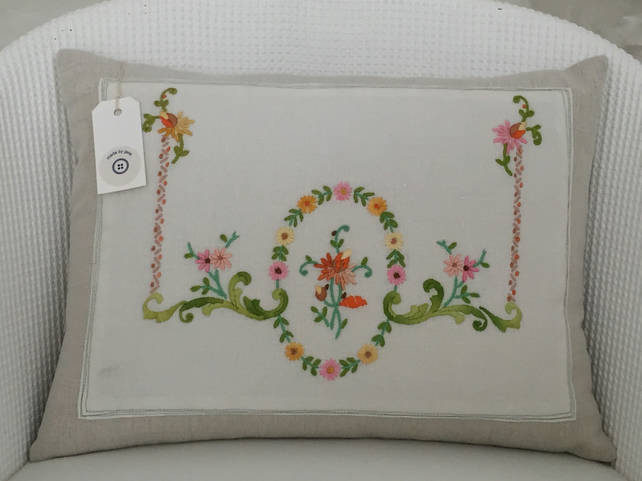 Handmade cushion, linen, cotton, vintage hand embroidered linen