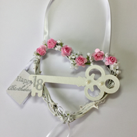 18 Girls Birthday Hanging Heart Shabby Chic Keepsake gift