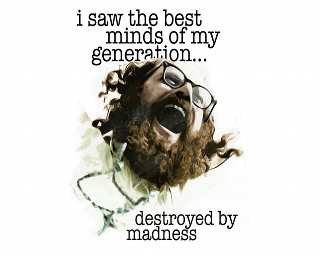 T-Shirt: ALLEN GINSBERG: HOWL - Destroyed By Madness - Literary Tee