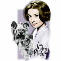T-Shirt: AUDREY HEPBURN - with Mr Famous the Yorkshire Terrier