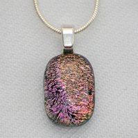 Small pink dichroic glass pendant necklace