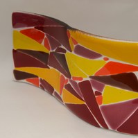 Red and yellow glass suncatcher wave