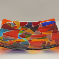mutlicoloured 20cm square fused glass dish