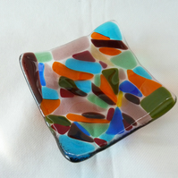 colourful glass small square dish