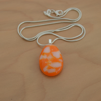 Orange and white teardrop pendant necklace