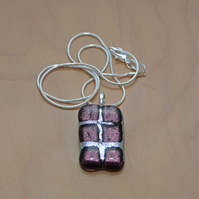 Glittering purple and silver fused glass necklace