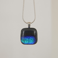 Glittering blue fused glass necklace