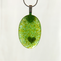 Hidden heart green glass necklace