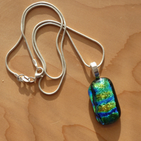 Dichroic blue and green necklace