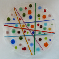 colourful line and dot design fused glass plate, 20cm