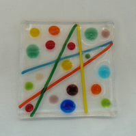 colourful line and dot design fused glass coaster