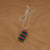 Rainbow stripes glass pendant