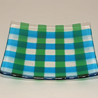 Fused glass shallow 18cm square dish - blue & green check