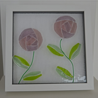 Art Nouveau Double Rose Fused Glass Picture